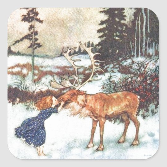 Kissing a Reindeer Square Sticker
