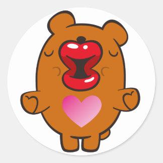 kissing bear round sticker
