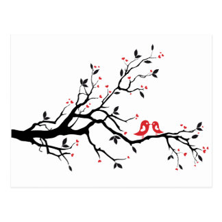 Kissing bird on tree branch with red heart leaves postcard