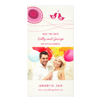 Kissing Birds Whimsical Dots Photo Save The Date Picture Card