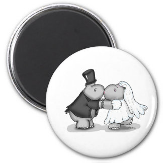 Kissing Bride and Groom Hippos - Personalize Magnet