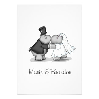 Kissing Bride Groom Hippos Personalize Personalized Invitations