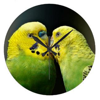 Kissing Budgie Parrot Bird Large Clock