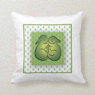 Kissing Bunnies & Vintage Romantic Pattern-Tulips Cushion