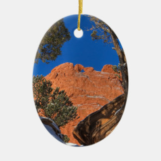 Kissing Camels Framed by Tree 01 Ceramic Oval Decoration