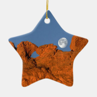 Kissing Camels Rock Formation with Full Moon Christmas Ornament