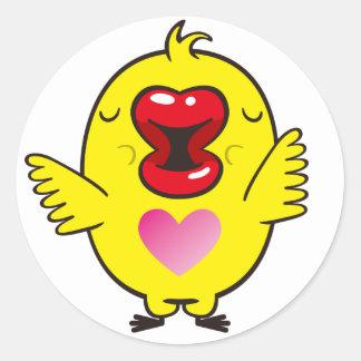kissing chick round sticker