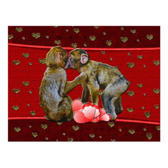 Kissing Chimpanzees Floating Hearts Postcard
