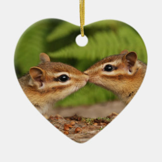 "Kissing Chipmunks ""Our First Christmas"" Ornament"