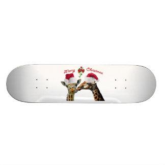 Kissing Christmas Giraffes Under Mistletoe Skate Board