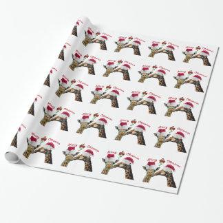 Kissing Christmas Giraffes Under Mistletoe Wrapping Paper