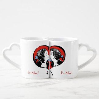 Kissing Couple - boy surprised - Be Mine! Coffee Mug Set