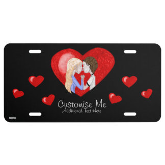 Kissing Couple (in heart) License Plate