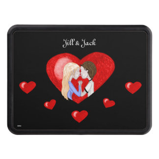 Kissing Couple (in heart) Hitch Cover