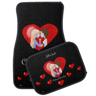 Kissing Couple (in heart) Car Mat