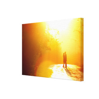 Kissing Couple in the Sunlight Canvas Print