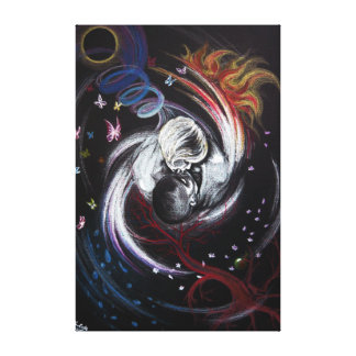 Kissing couple love surreal art Wrapped canvas Gallery Wrap Canvas