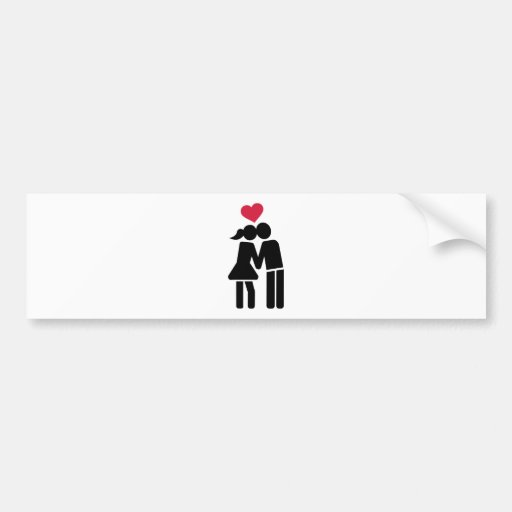 Kissing couple red heart bumper sticker