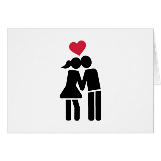 Kissing couple red heart card