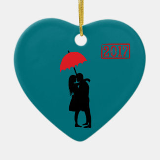 Kissing Couple Red Umbrella 2017 Christmas Ornament