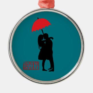 Kissing Couple Red Umbrella 2017 Christmas Ornament