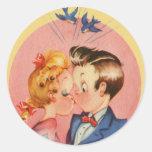 Kissing Couple Round Sticker