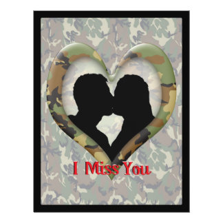 "Kissing Couple Silhouette ""I Miss You"" 21.5 Cm X 28 Cm Flyer"