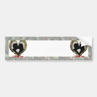 "Kissing Couple Silhouette ""I Miss You"" Bumper Stickers"