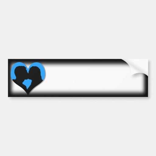 Kissing Couple Silhouette on Blue Heart Bumper Sticker