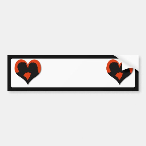 Kissing Couple Silhouette on Red Heart Bumper Stickers