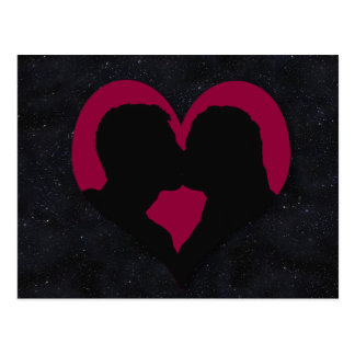 Kissing Couple Silhouette on Red Heart Post Cards