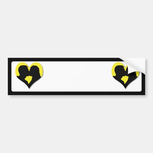 Kissing Couple Silhouette on Yellow Heart Bumper Sticker