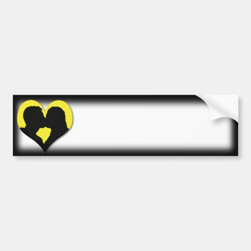 Kissing Couple Silhouette on Yellow Heart Bumper Stickers