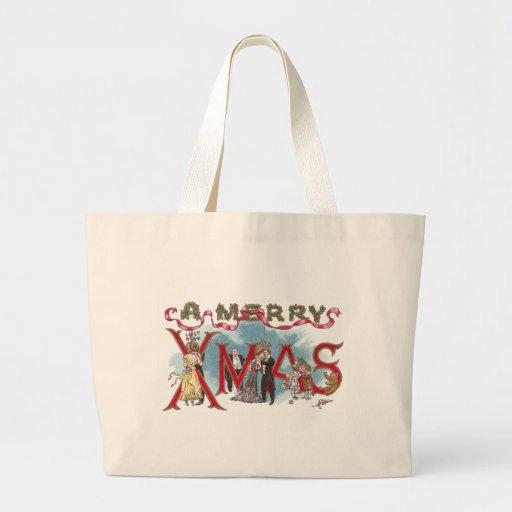 Kissing Couples Vintage XMAS Tote Bags