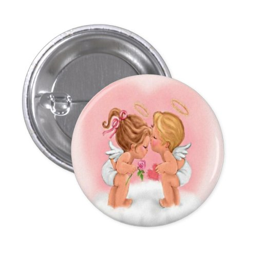 Kissing Cupids Button Pin