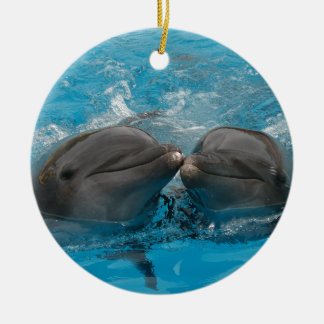 Kissing Dolphins Christmas Ornament