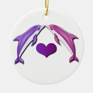 Kissing Dolphins Ornament