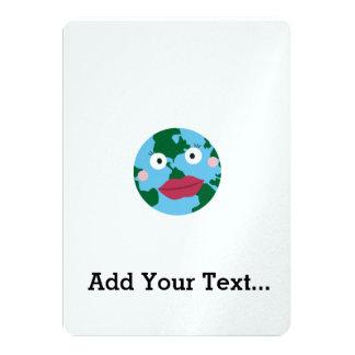 Kissing earth 13 cm x 18 cm invitation card