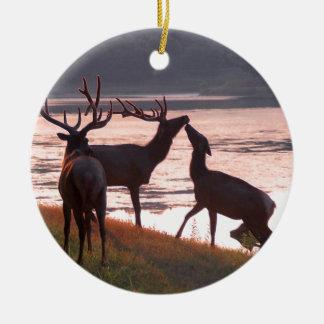 Kissing Elk Round Ceramic Decoration