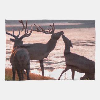 Kissing Elk Tea Towel