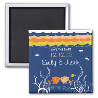 Kissing Fishes Fish Coral Sea Beach Save The Date Square Magnet