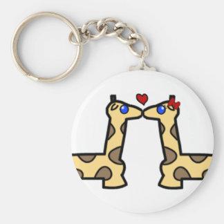 Kissing Giraffes Basic Round Button Key Ring