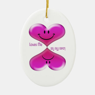 Kissing Hearts, Loves Me, Loves Me Not Ceramic Oval Decoration