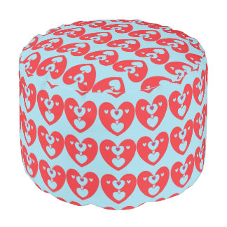 """Kissing Hearts"" round pouf Round Pouffe"