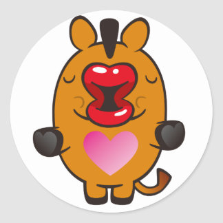 kissing horse round sticker