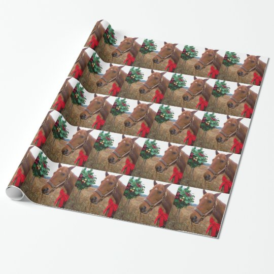 Kissing Horse under Mistletoe Wrapping Paper