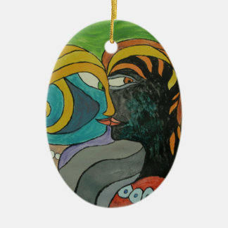 Kissing in the breeze ceramic oval decoration