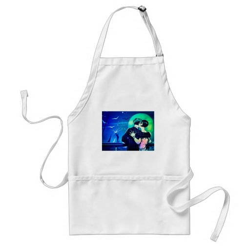 Kissing in the Moonlight at the Statue of Liberty Aprons