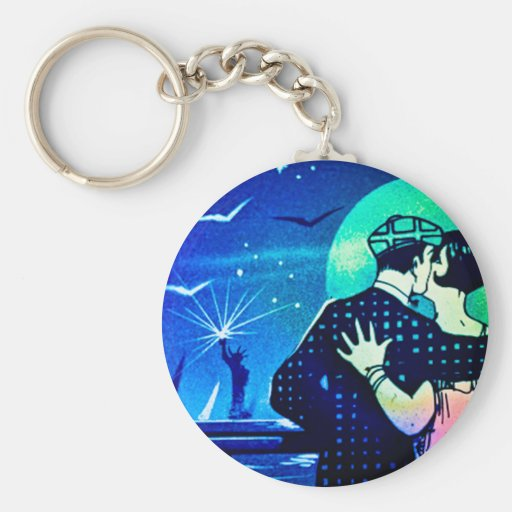 Kissing in the Moonlight at the Statue of Liberty Key Chains