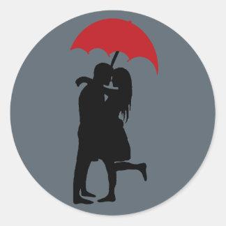 Kissing in the Rain Round Sticker